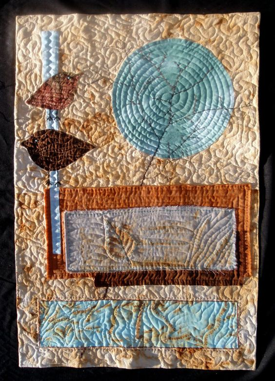 Morning Song Quilted Art  Collage Wall Hanging by juliebagamary