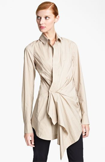 Donna Karan Collection Draped Paper Cotton Tunic - but in white instead of buff