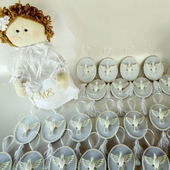Lembrancinha de Batizado Divino Espírito Santo Anjo personalizado AtelierBia Maria