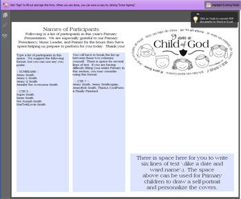EDITABLE 2013 Primary Sacrament Meeting Program Cover | Mormon Share
