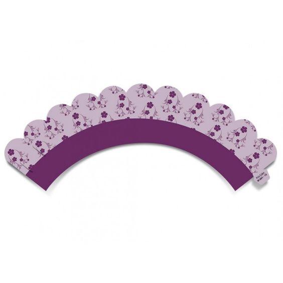 Wrap (cinta) p/ Mini Cupcake: Florzinhas (12 unid.) - P/ mini cupcake ou brigadeiros - Wrappers (cinta) - Wrap e Acessórios