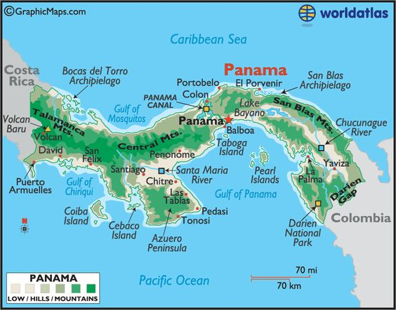 Large Color Map of Panama, Panama Cities Landforms - The prize before us.