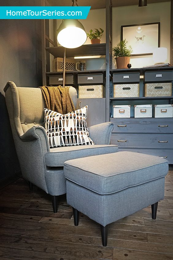 The IKEA STRANDMON wing back chair not only looks and feels great, but also has a 10 year warranty! The IKEA Home Tour Squad added it to their man cave makeover to have functional furniture that Scott could relax and be comfortable in while studying.