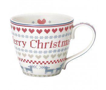 """GreenGate Becher """"Mug December"""" red"""