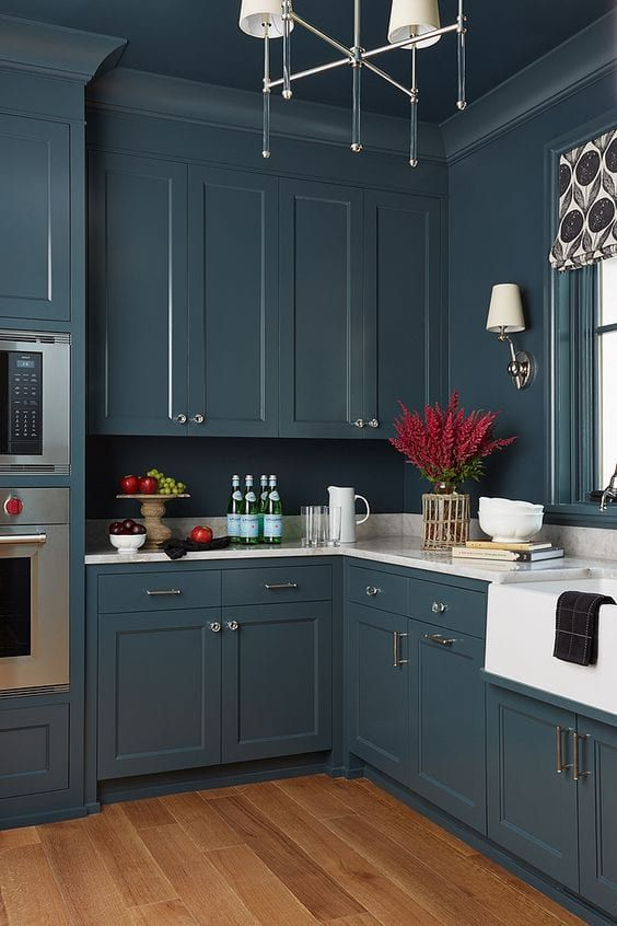 Paint Your Walls Trim Even Your Ceiling The Same Color Seriously Blue Kitchen Walls Kitchen Wall Cabinets Dark Blue Kitchen Cabinets