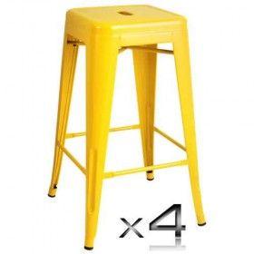4x Replica Tolix Bar Stool - 66cm - Yellow Price: $162.95