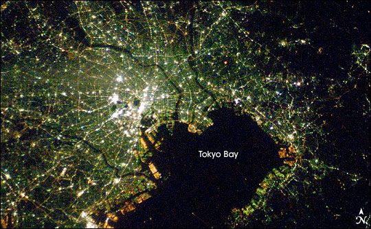 Like many Japanese cities, the night lights of Tokyo, Japan, have a blue-green glow that comes from mercury vapor lighting.: Beautiful Earth, Night Lights, Borders Space, Beautiful Beautiful, City Lights, Earth From Space, Cities From Space, Places Spaces