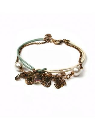 Pastel Leather Multi Bracelet with Dangling Charms,  Jewelry, charm  bronze  pearl, Chic