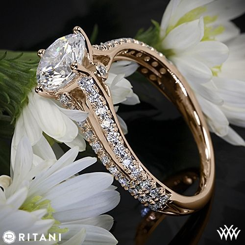 18k Rose Gold Ritani Classic Split Shank Diamond Engagement Ring