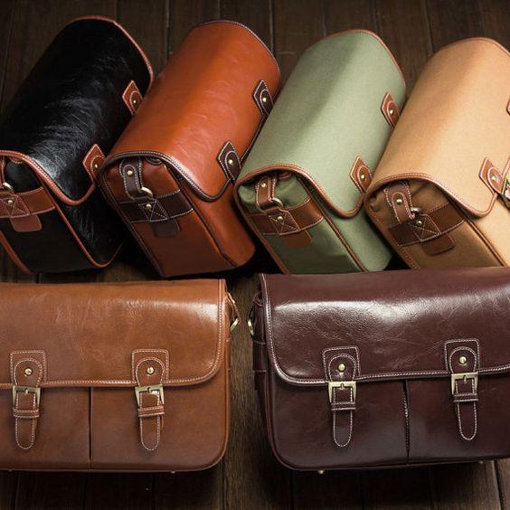 Brown Leather SLR Camera Bag - Digital SLR Camera Messenger Bag -The DSLR Camera Bags  for Women - Best Handmade Vintage Look  Shoulder Bag on Etsy, $39.00