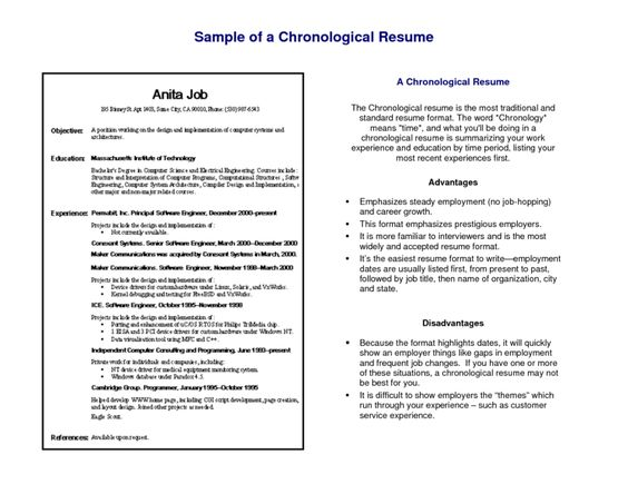 Image result for chronological resume sample Resume WS Pinterest - reverse chronological resume