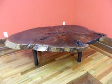 Live Edge Finished Oval Cut Black Walnut Coffee Table 53007, 10434