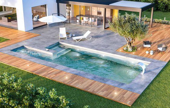 Plage de piscine en bois moderne