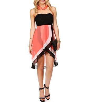 Dress for Amanda's wedding..BlackWhiteCoral Hi Lo Dress