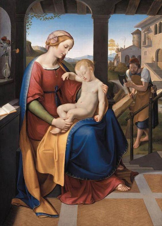 Friedrich Wilhelm von Schadow (1788-1862) —  The Holy Family beneath the Portico,  1818  :   The Neue Pinakothek, Munich.  Germany  (708×990):