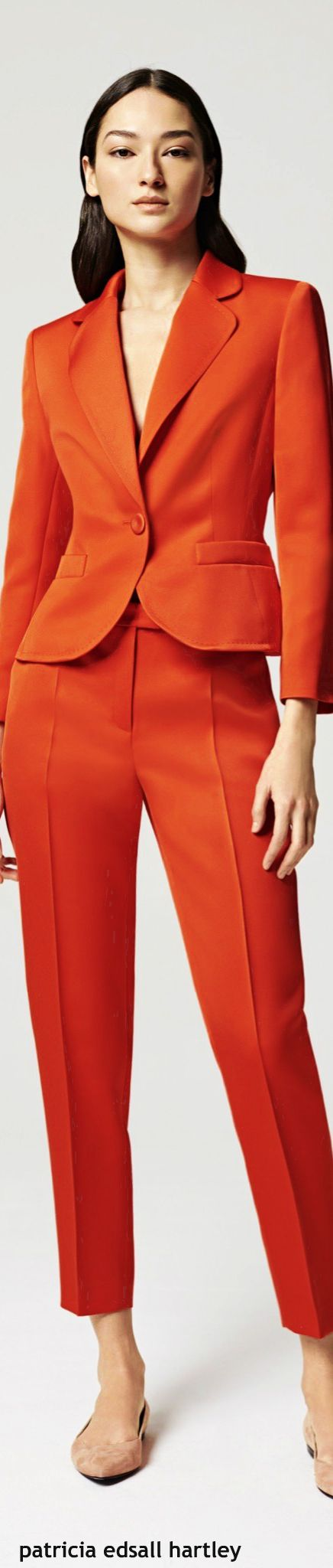 Escada resort 2016 orange suit women fashion outfit clothing style