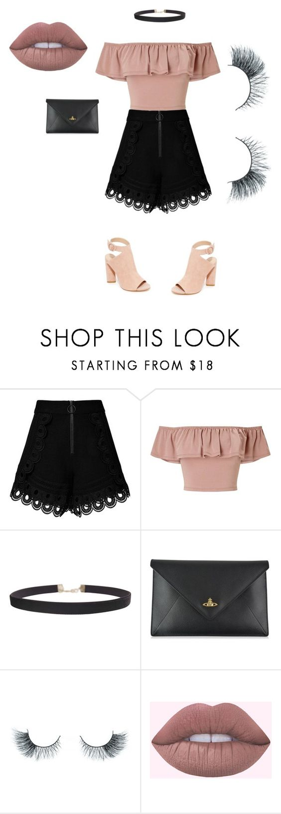 """""""Pinky"""" by hrockholt ❤ liked on Polyvore featuring self-portrait, Miss Selfridge, Humble Chic, Vivienne Westwood, Unicorn Lashes and Kendall + Kylie"""