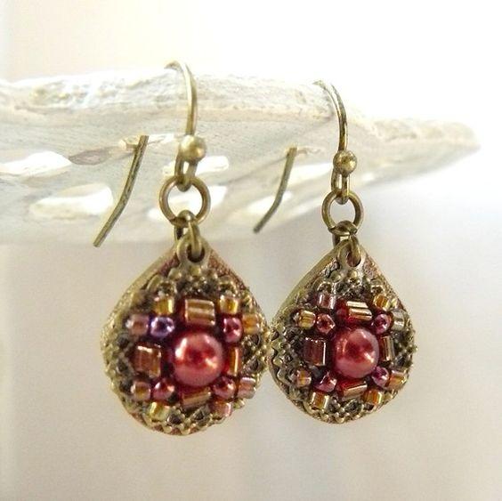 Talia Beaded Filigree and Leather Earrings in Cinnamon ❤ by Viridian