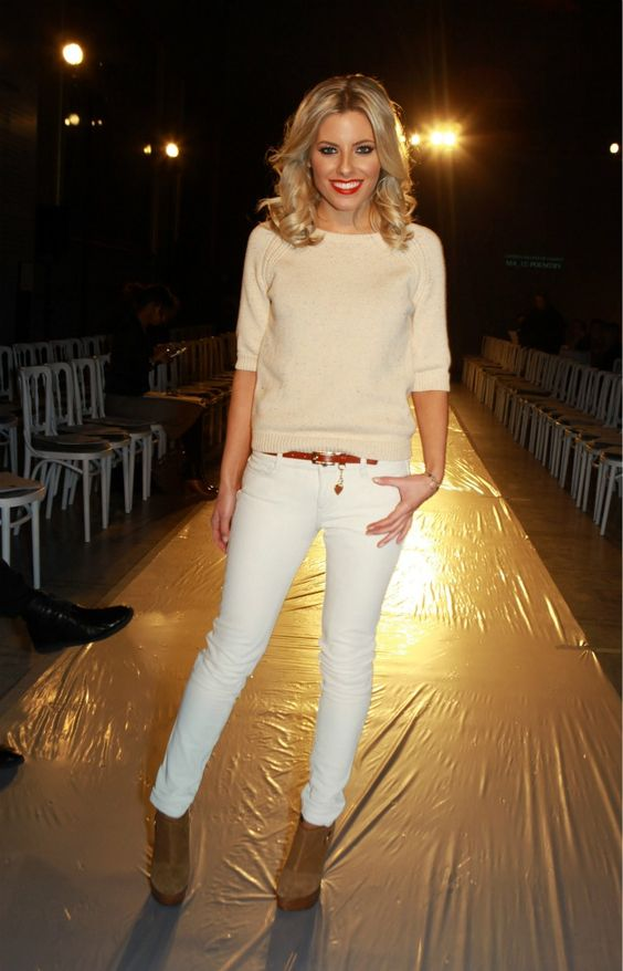 Mollie King Nude Jumper and White Trousers