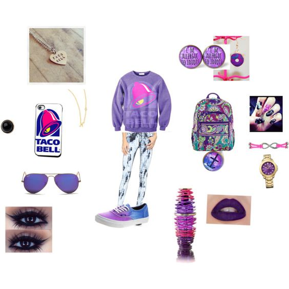 """""""Look today*h* Taco Bell✌"""" by mariapatricias on Polyvore"""