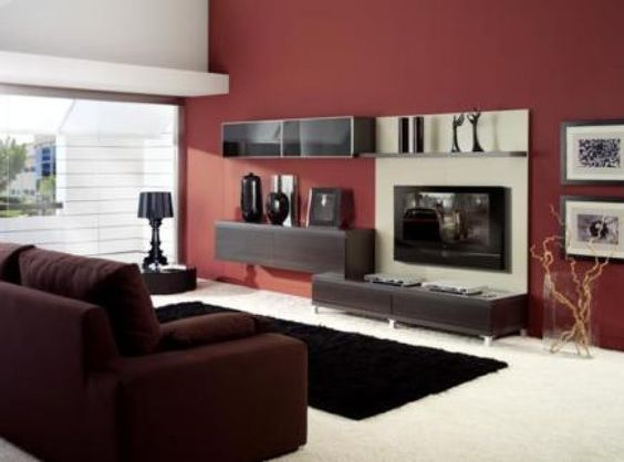 Muebles color wengue pintar paredes color pared salon - Pintura pared salon ...