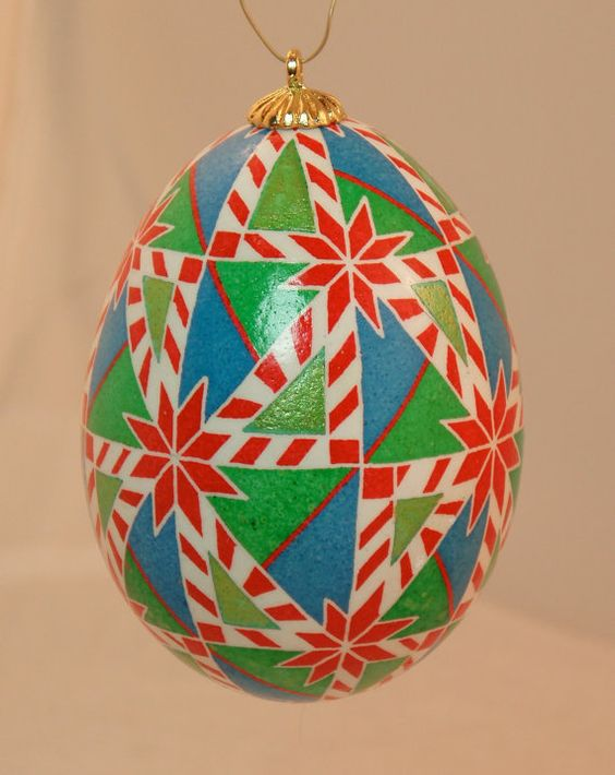 Red green blue and gold triangles pysanka hanging by HankyPysanky
