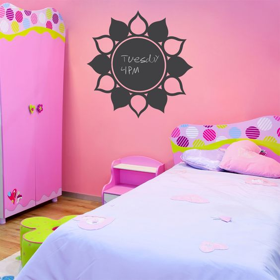 Flower Chalkboard - You could get the wall decal or paint this on the wall with chalk paint easily.