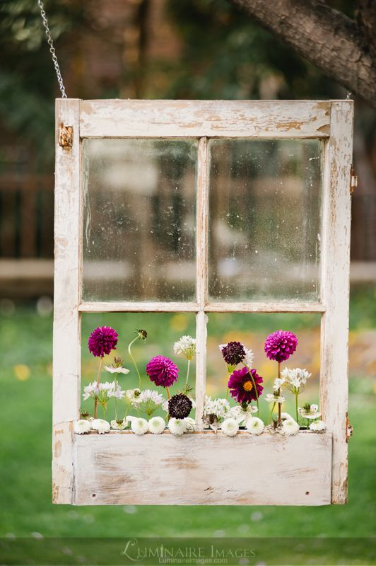Suspended shabby-chic window pane used as a flower box, concept by Dandelion Ranch in Los Angeles