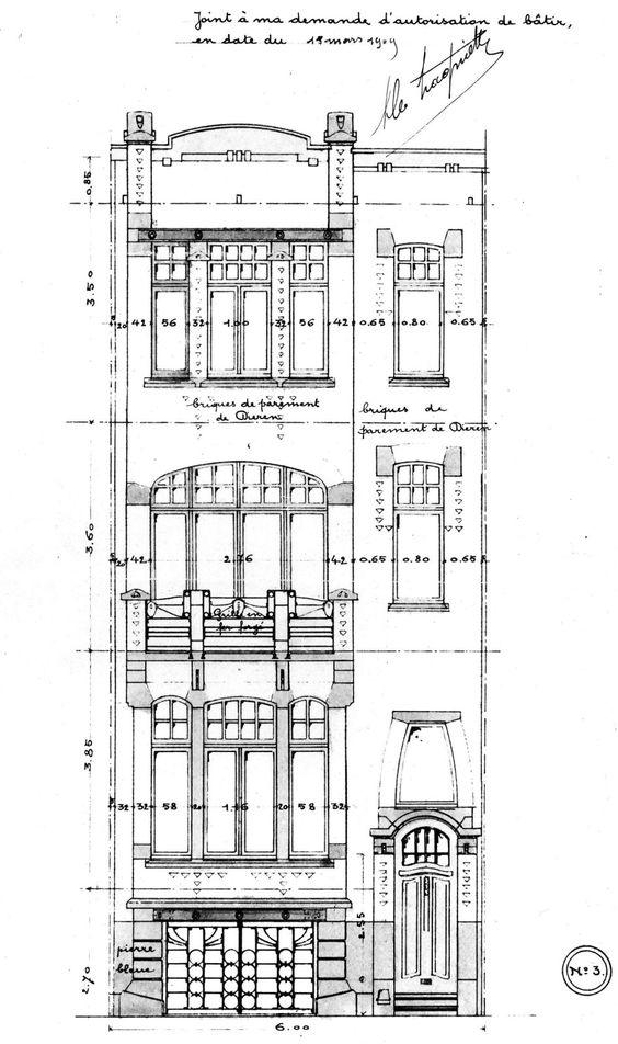 Etterbeek rue champ du roi 104 106 hamesse paul drawing fasades art nouveau bruxelles - Roi du matelas schaerbeek ...