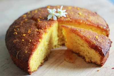 Orange blossom and honey polenta cake