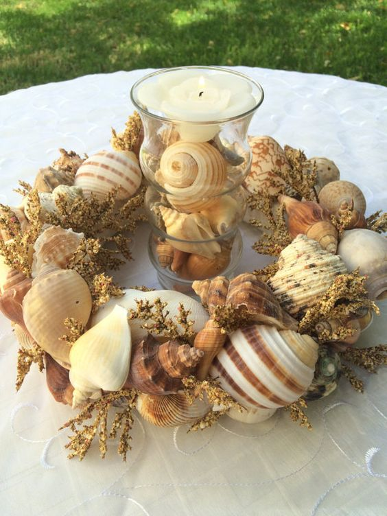 Seashell Wedding Reception Table Centerpiece by FloralsAndSpice