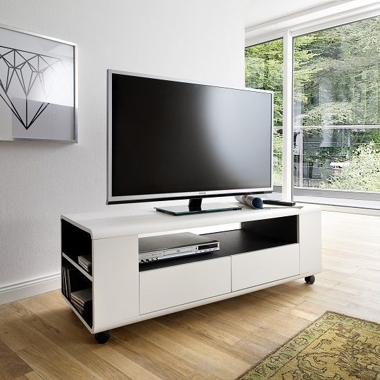 Catelyn Tv Stand In Matt White And Anthracite With Castors White Tv Stands Tv Unit Tv Stands Uk