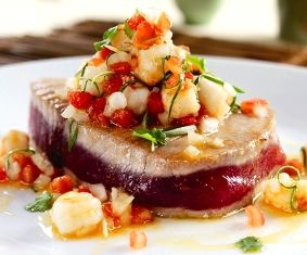 Roy's Seared Ahi w/Lilikoi Shrimp Salsa - Chef Roy Yamaguchi, Roy's