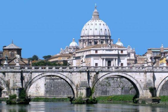 Puente de Sant´Angelo, Fiume Tevere - Cúpula de San Pedro del Vaticano