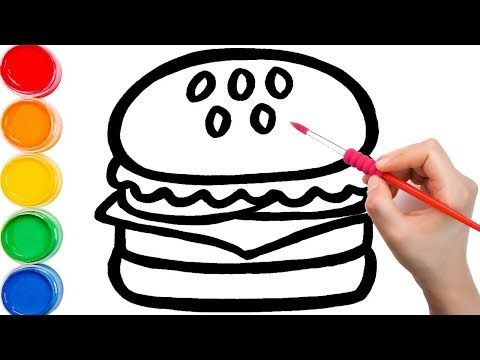 Glitter Burger To Learn Colors For Kids How To Draw Paint Learn Colors For Kids Children Youtube Coloring For Kids Learning Colors Art And Craft Videos