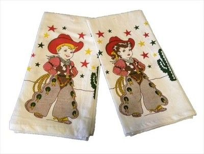 Cowboy Cowgirl Kitchen Dish Towels Vintage Look New 2 | eBay