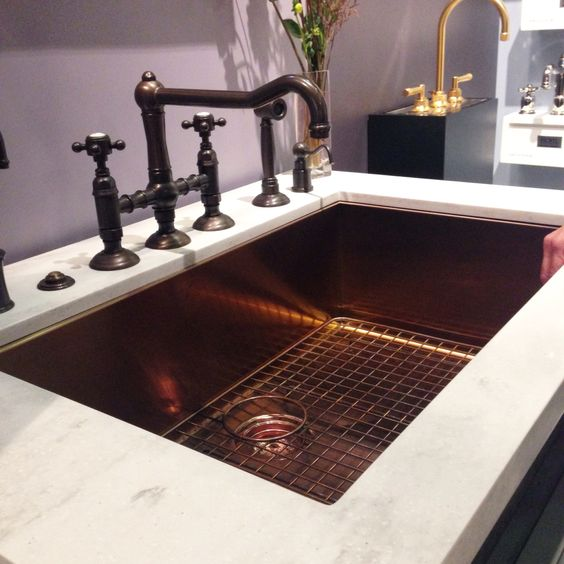 Available now stainless steel sink in a copper finish for Oiled bronze faucet with stainless steel sink