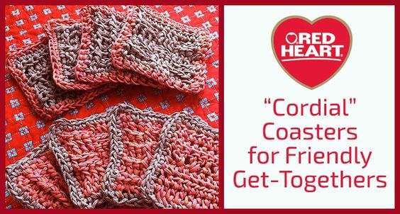 C€€ordial€€ Coasters for Friendly Get-Togethers - 4 free #crochet coasters patterns @redheartyarns