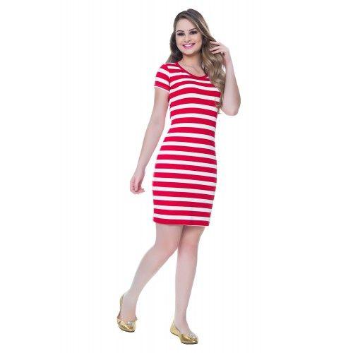 Vestido Tendencia Listras Vermelho - Hapuk