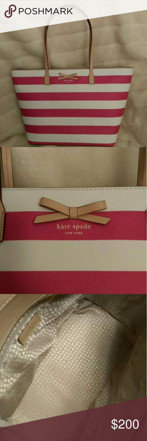 Kate Spade Tote Large pink and white striped tote by Kate Spade New York  In perfect condition Kate Spade Bags Totes