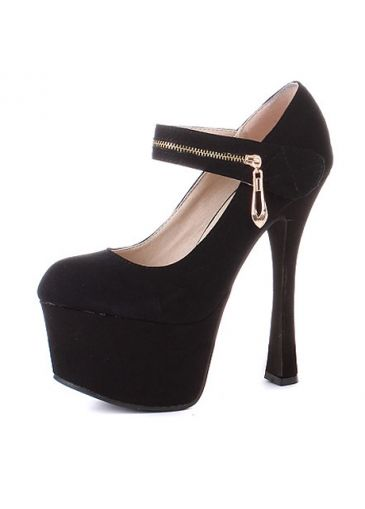 Black Thick Platform Mary Jean Pumps with Zipper Ornament Strap