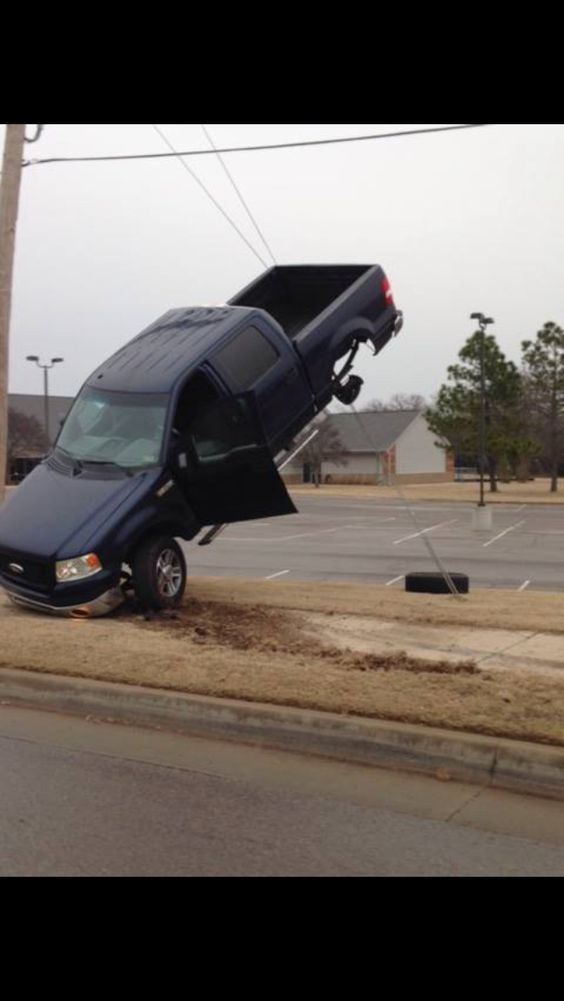 I have no idea how this happened, and I hope the people involved were ok; however, I laughed hard. Lol