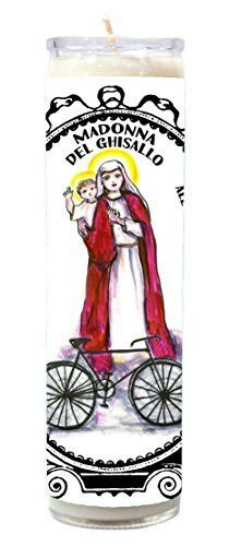 Madonna Del Ghisallo Patron Saint of Cycling 7 Day Scented Candle with Charm Pendant and Laminated Prayer Card Gift Set