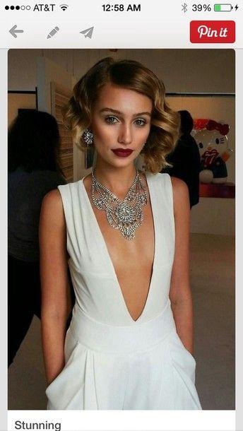 Deep v white dress