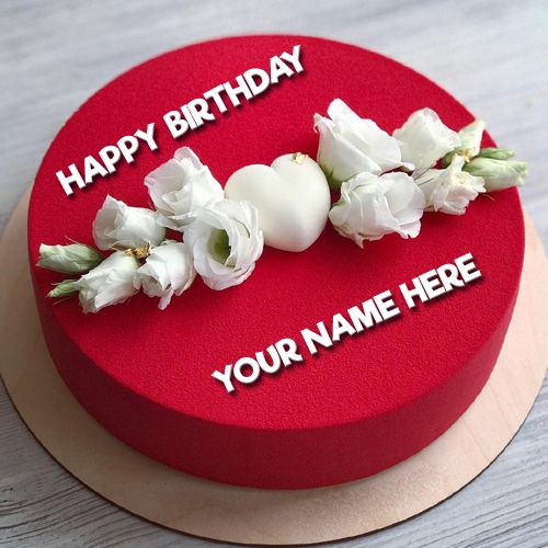 Write Name On Romantic Red Birthday Cake For Lover Girlfriend