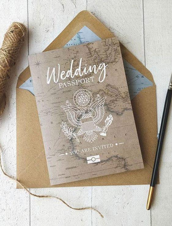 Tematické svatební oznámení – cestování pas