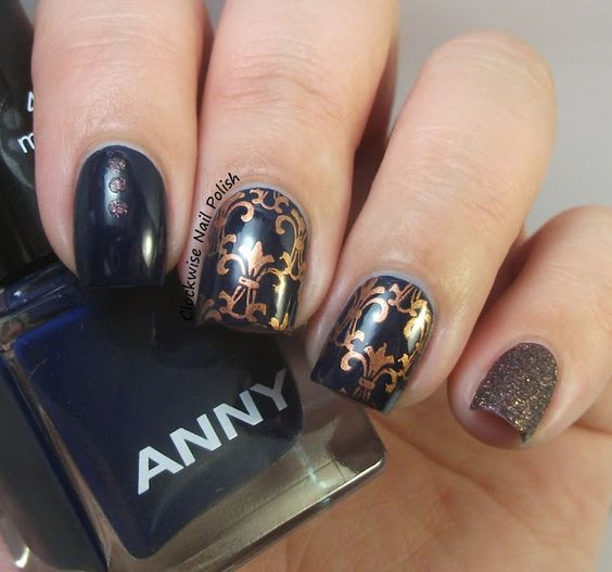 The Clockwise Nail Polish: Anny Midnight Blue & Fleur de Lis Nail Art