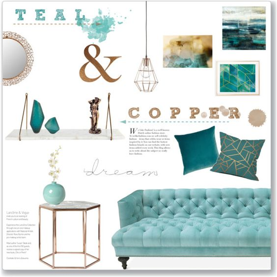 Gray And Teal Living Room By Jurzychic On Polyvore: Teal & Copper: Living Room By Lauren-a-j-reid On Polyvore