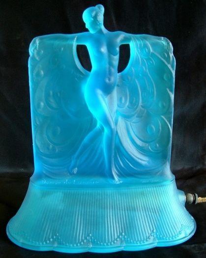 details about mckee glass co danse de lumiere blue glass art deco lamp 1927 lamps art and blue. Black Bedroom Furniture Sets. Home Design Ideas