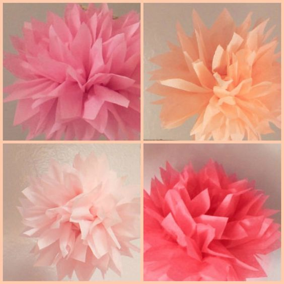 10 Tissue  Poms Wedding Decor,Baby,Bridal Shower,It's A Girl,Peach Decor,Ceremony Decor,Coral Wedding on Etsy, $24.00